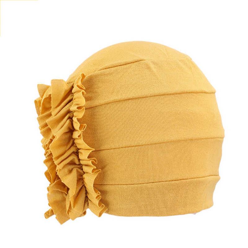 Kadın modeli başörtüsü kemoterapi kap batı tarzı fırfır kanser kemo şapka bere eşarp türban Wrap Hedging kap