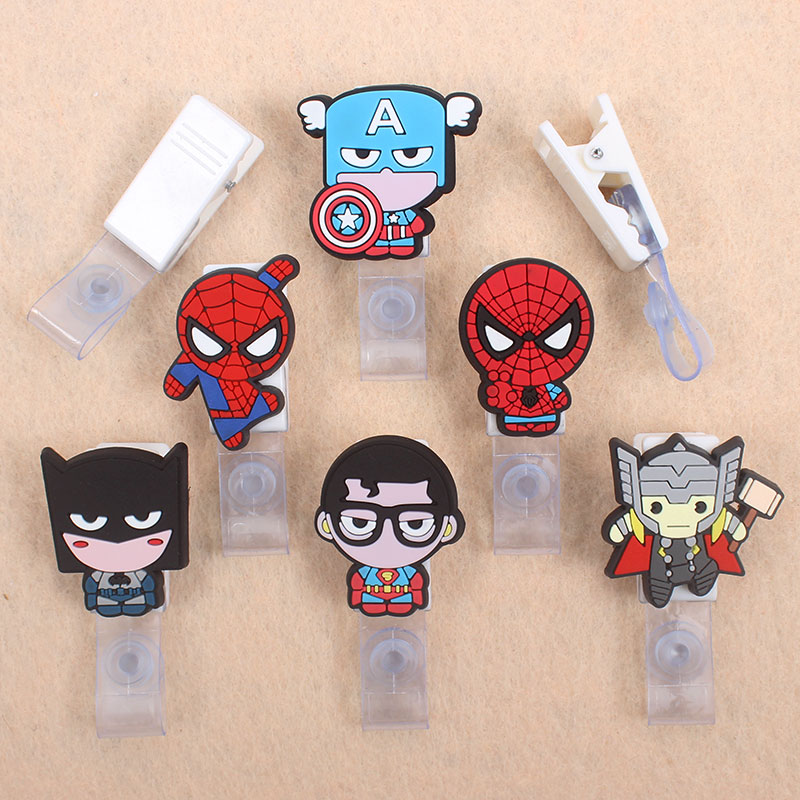 Cartoon Brave Hero Spiderman Badge Holder Plastic Clip Of Work Cover Badge Reel Nurse Exhibition Enfermera ID Name Card For Boys