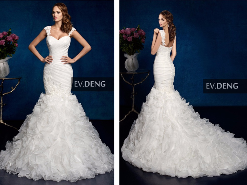 Lace Appliques Organza Ruffles Sexy 2018 Hot Sale Vestido De Noiva Casamento Sweetheart Bridal Gown Mother Of The Bride Dresses