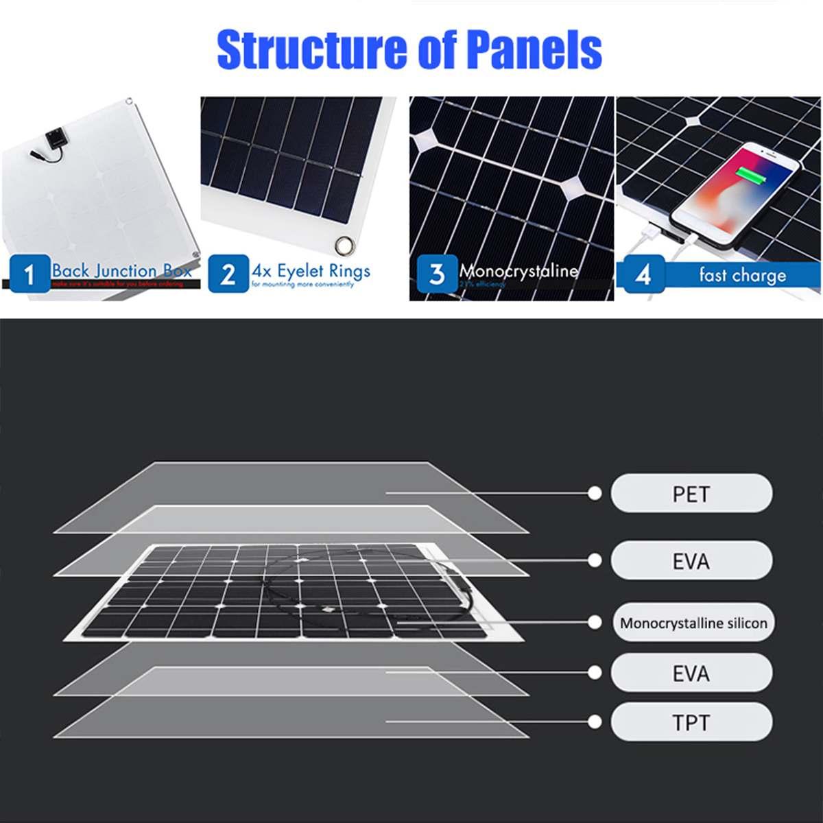 100W 18V Mono Solar Panel USB 12 V/5 V CC monocristalino Flexible Cargador Solar para coche RV barco cargador de batería impermeable - 2