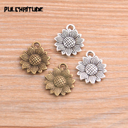 PULCHRITUDE 20pcs 15*18mm Metal Alloy Two Color Sun Flower Charms Plant Pendants For Jewelry Making DIY Handmade Craft