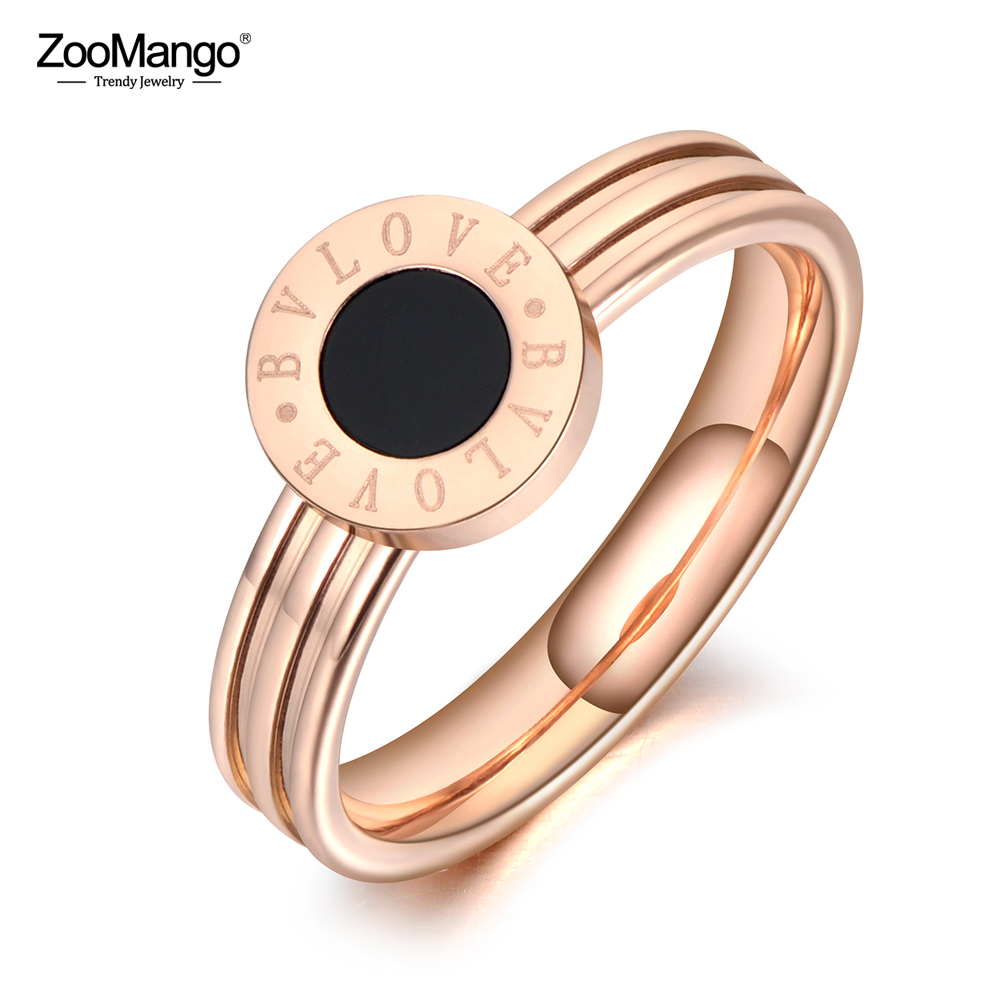 ZooMango Stainless Steel Fine Brand Jewelry Black Acrylic Rings Bridal Wedding Engagement Ring Jewelry For Women ZR19106|Wedding Bands| - AliExpress