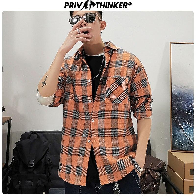 Privathinker Male Korean Clothes Plaid Shirts Men Vintage Shirts Streetwear 2020 Spring Mens Streetwear Shirts