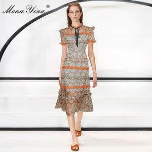 Image 3 - MoaaYina Fashion Designer Runway dress Spring Summer Women Dress Short sleeve Lace Ruffles Floral Print Chiffon Dresses
