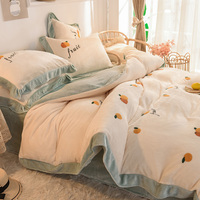 Luxury Bed Linen Christmas Cotton Comforter Bedding Sets Designer Flannel Bed Sheets Set Queen Size Coral Duvet Cover Bedspreads