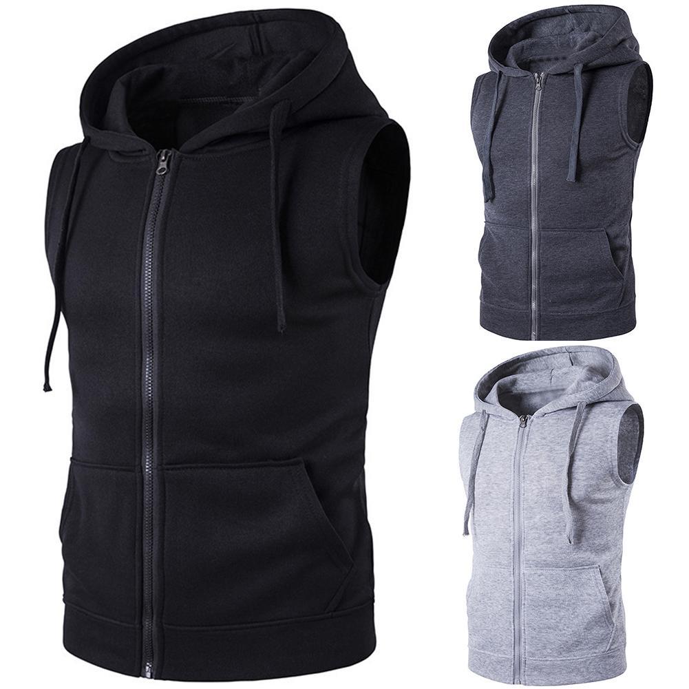 Men Fashion Solid Color Vest Jacket Zipper Pockets Waistcoat Sleeveless Hoodies
