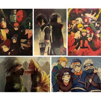 Naruto Mustela Nostalgic Retro Kraft Paper Poster Bar Cafe Decoration Painting Wall Stickers 51*35cm - discount item  49% OFF Home Decor