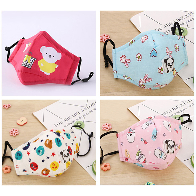 Kid Mouth Mask Dustproof Cartoon PM 2.5 Filter Mask Mouth Cover With Filter Pad For Children Face Mouth Anti Dust Masks Cover 2