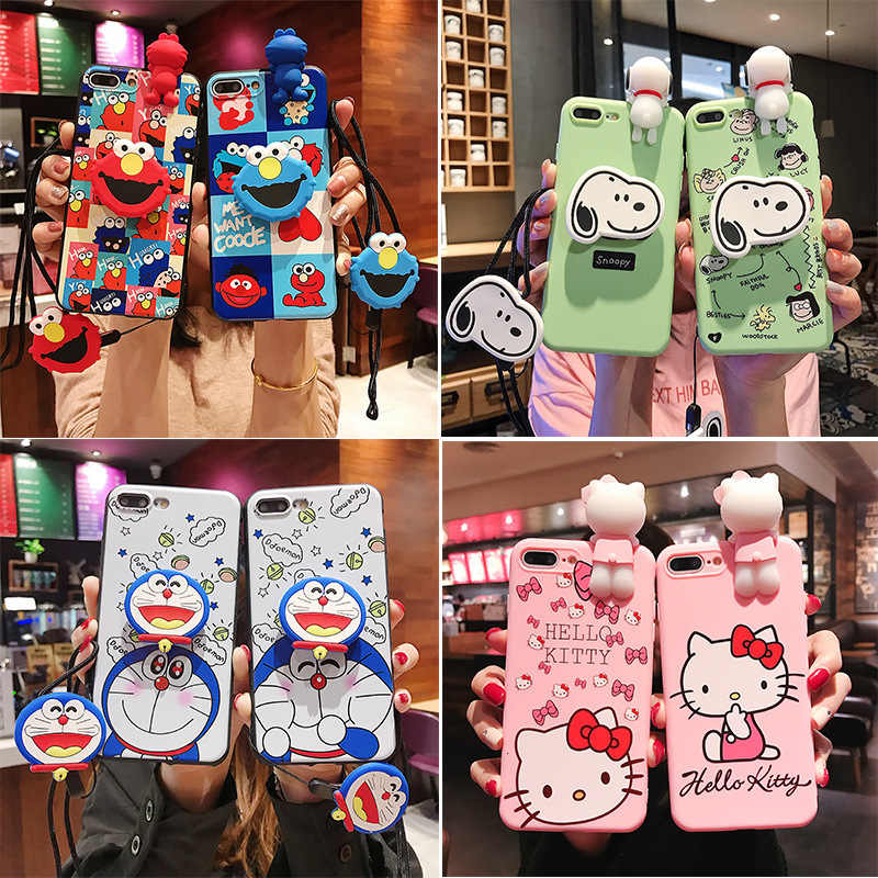 Cartoon Anime Mobiele Telefoon Case Voor Iphonex Xs Xr Xsmax 8 7 6 6S Plus Beugel Lanyard Soft Shell anti-Val Bescherming Back Cover