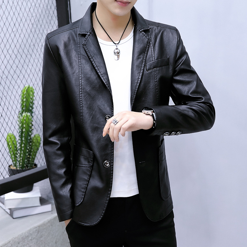2020spring new sheepskin leather jacket youth business casual suit jacket men slimsheep leather jacket men men's leather jacket