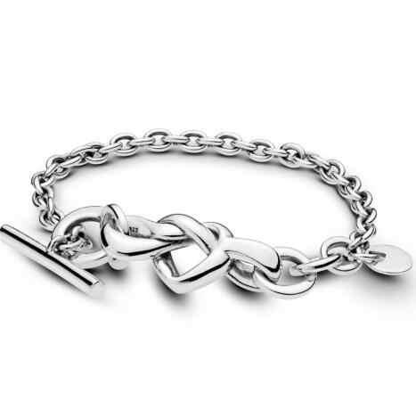 Oryginalna bransoletka ze srebra próby 925 wiązane serce zdobione sercem t-zapięcie Link bransoletka Fit kobiety koralik urok biżuteria