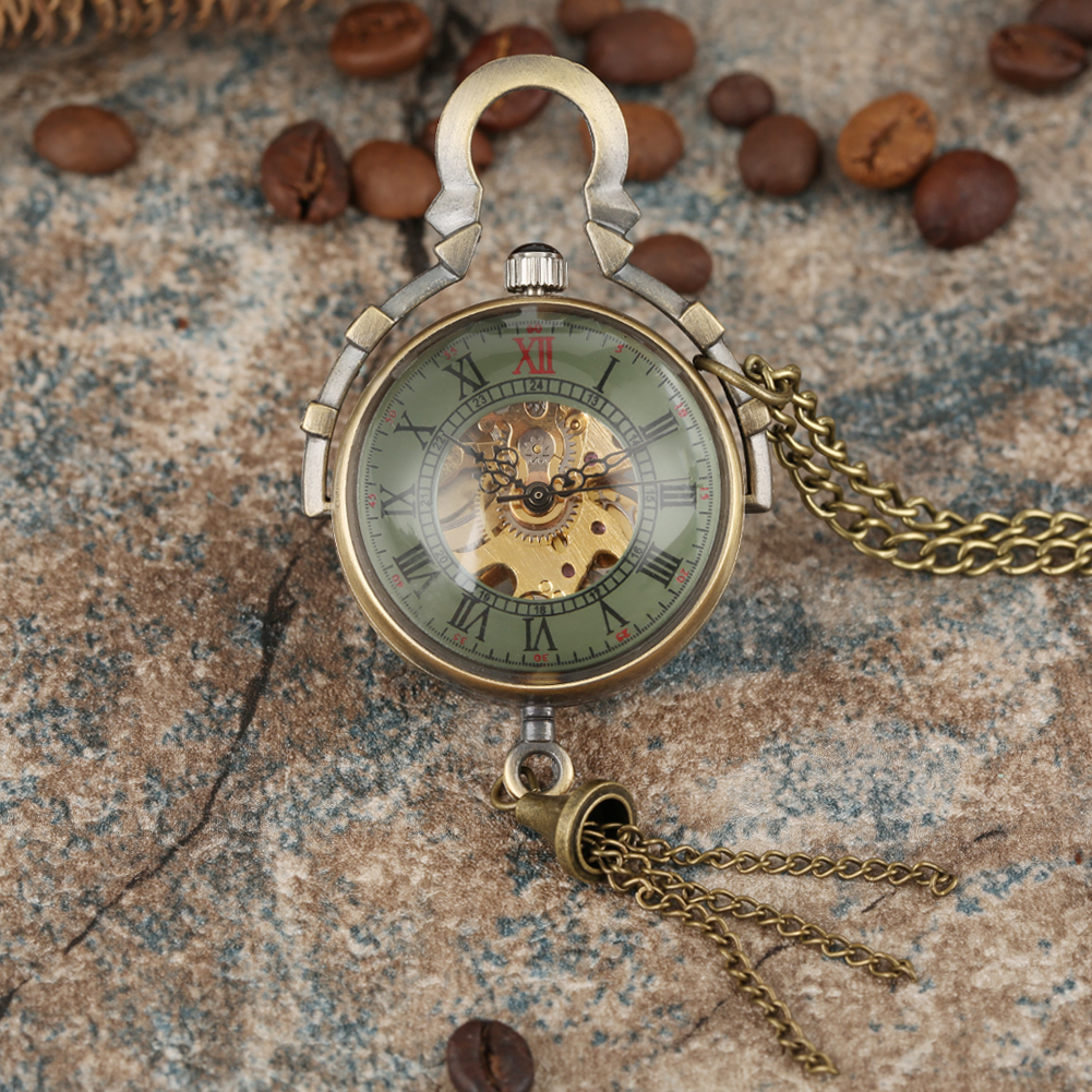 Classic Hollow-out Transparent Glass Ball Hand-winding Pocket Watches Alloy Slim Chain Pendant Watch For Men Women