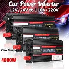 Araç invertörü 4000W tepe güç voltaj dönüştürücü trafo DC 12/24V AC 110/220V modifiye sinüs dalga dönüştürücü + LCD ekran