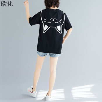 2020 Summer Funny Cat T Shirt Women Plus Size Kawaii Cartoon Print Cotton TShirts Femme Big Size Sweet Loose Tee Shirts 4XL 5XL