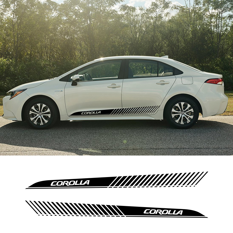2 PCS Vinyl Side Decals Stripes Wraps Body Stickers Car Styling For Toyota Corolla