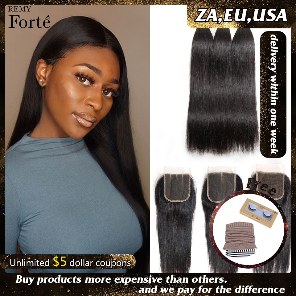 Remy Forte Straight Hair Bundles With Closure 8-30 Inch Human Hair Remy Brazilian Hair Weave Bundles 3/4 Bundles With Closure