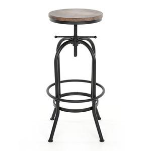 iKayaa Swivel Bar Stool Industrial Barstool Height Adjustable Swivel Chair Natural Pinewood Top Kitchen Dining Breakfast Chair