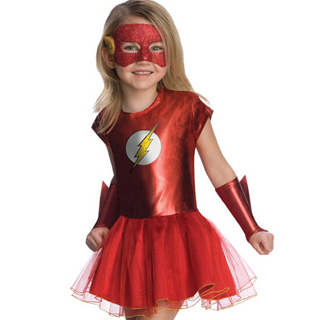 Girls the flash superhero cosplay costumes fantasia vestido halloween fancy Tutu dress Kids carnival party Outfit nl135