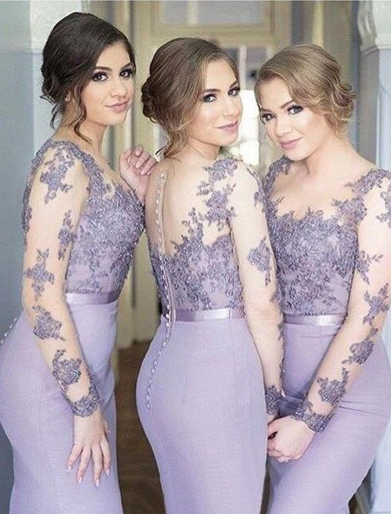 New Lilac Bridesmaid Dresses Mermaid Long Sleeves Sweep Train Bridesmaids Gowns With Lace Applique Illusion Back Formal