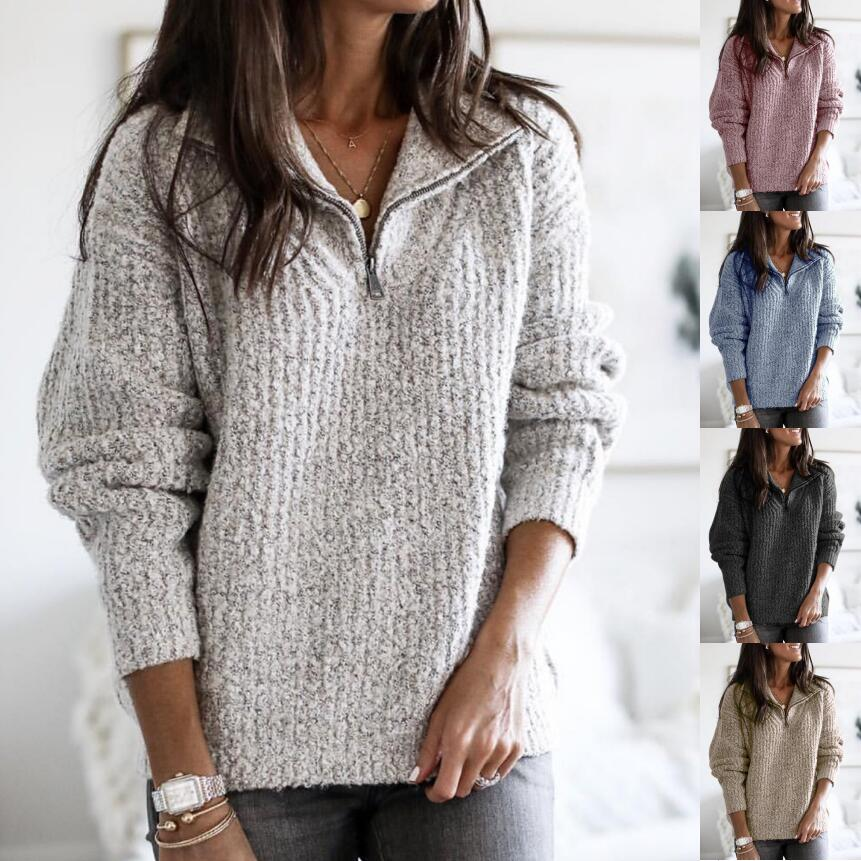Women Pullover Thin Sweaters Plus Size Fashion Zipper Casual Solid Long Sleeve Loose Ladies Knitted Spring Autumn Clothing 5XL