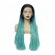Sexy 3 Tones Ombre Green Long Micro Braided Synthetic Lace Front Wigs for Black Women Box Braids Lace Front Wig Heat Resistant adiors long senegal twists braids lace front synthetic wig