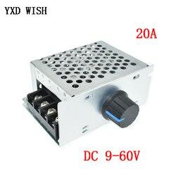 Controlador de velocidad del Motor DC 10V-60V, PWM, potenciómetro de conmutación, 12V, 24V, 36V, 48V, 20A, regulador de voltaje