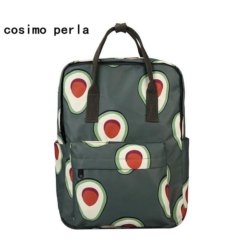 Korean Avocado Green Nylon Bookbag Cute Fruit Print Tote Rucksack Women Large School Bagpack For Teenage Girl Mochila Mujer 2020