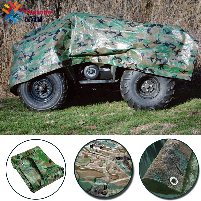 Tewango Camouflage Tarpaulin Heavy Duty Tarp Waterproof Ground Sheet Camping Camo Outdoor Waterproof Tarp SunShade Sail 110GSM