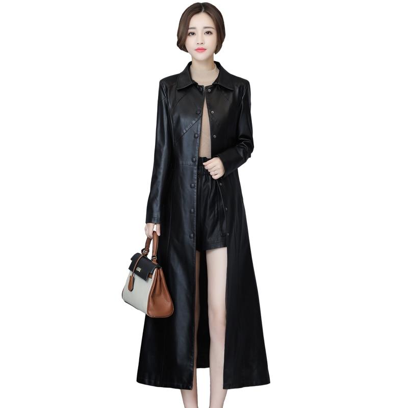 New Spring Autumn Long Leathers Coats Womens Slim Ladies Sheepskin Windbreaker Large Size PU Leather Motorized Coat Women