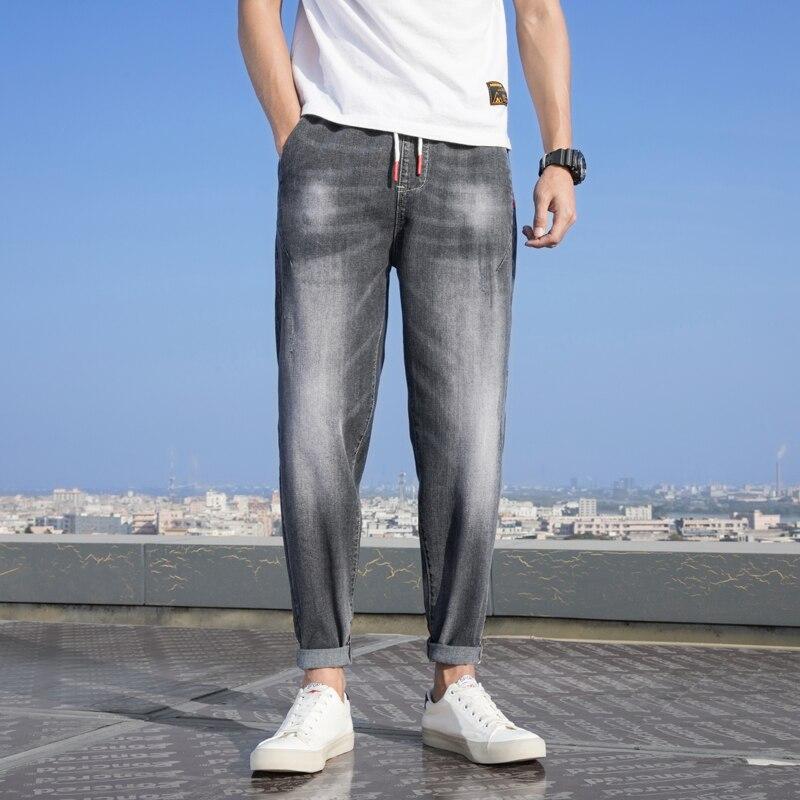 Jeans Men Fashion Light Blue Jeans Men's Straight Loose Large Size Casual Pants Men's Denim Trousers Plus Size S-7XL Ankle Pants