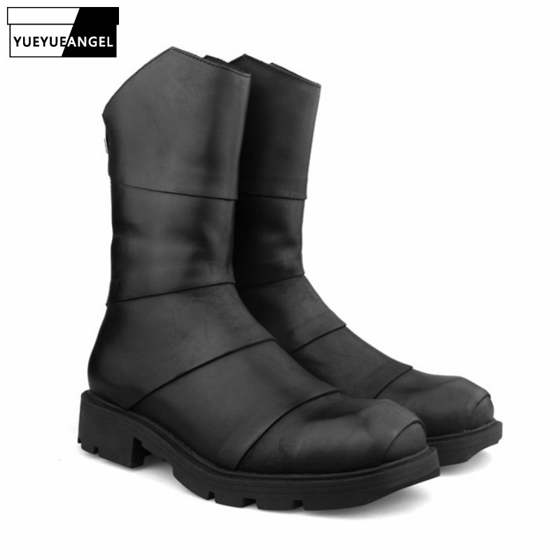Winter Men High-Top Boots Street Luxury Zipper Cowhide Platform Boots Round Toe Fashion Riding Combat Boots Black Sneakers Male