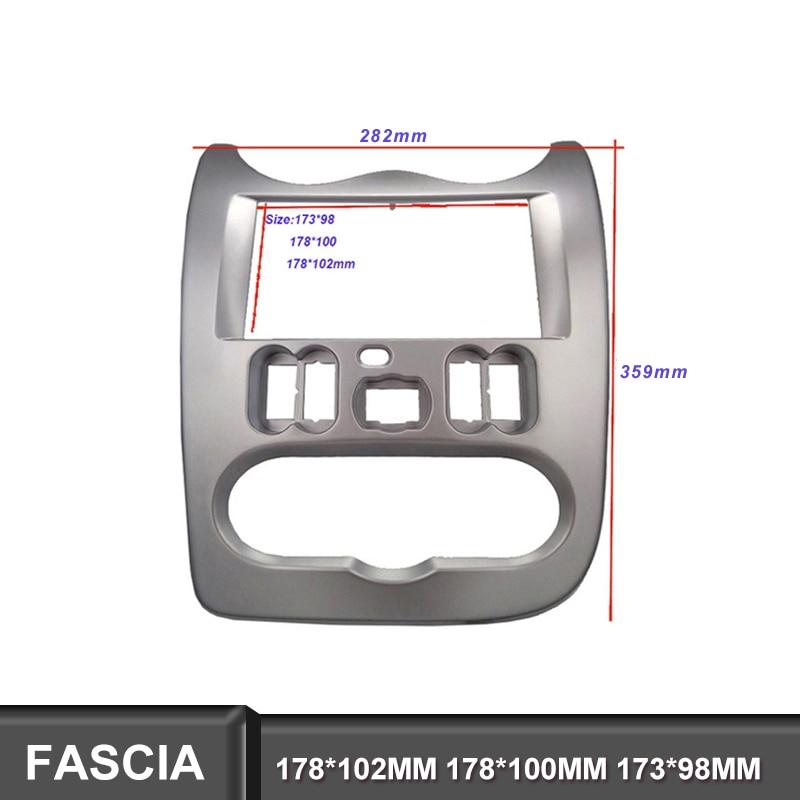 2Din DVD Fascia Stereo Fit Para RENAULT Duster Logan Sandero Dacia Quadro Montar Rosto Painel Facia Na Instalação Do Traço Guarnição kit