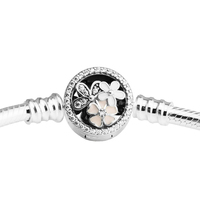 Poetic Blooms Mixed Enamels & Clear CZ Bracelets For Woman DIY Beads & Charms Authentic Silver Fashion Jewelry Bracelets