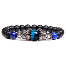 Royal Blue Tiger Eye Stone Bracelets Traditional Ancient Silver Dragon Charm Bangle Men Matte Black Onyx Elastic Women Braclets(China)
