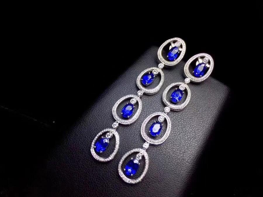 Le dernier design, 925 boucles d'oreilles en argent pur saphir naturel, gland, luxe et exquis, boucles d'oreilles bijoux haut de gamme.