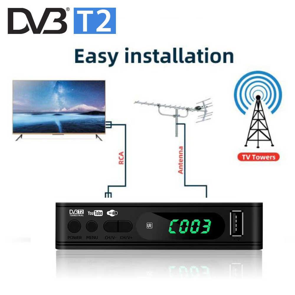ใหม่ล่าสุด HD DVB T2 ทีวีถอดรหัส DVB จูนเนอร์ Dvb-T2 รองรับ WIFI Dongle YouTube IPTV USB พอร์ตภาษารัสเซียเมนู