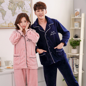 Thicken Coral Fleece 2PCS Sleep Set Couple Pajamas Winter Warm Flannel Nightwear Sleepwear Casual Soft Female Home Clothes