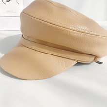 PU Leather Beret hat Women Newsboy Hat Baker Cap 90 Girls painter caps Elegant Solid beret female Octagonal cap