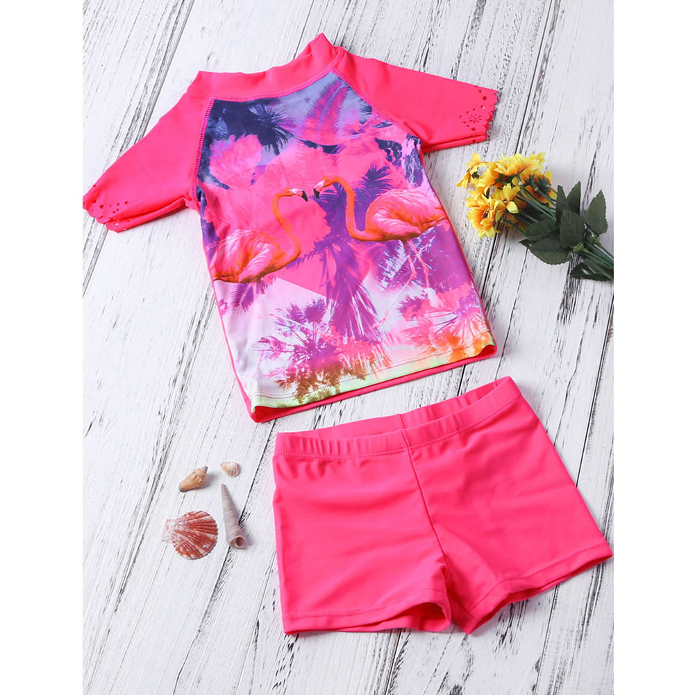 Shi Ying Europe And America New Style GIRL'S Conservative Bathing Suit Short-sleeve Pullover Printed Two-Piece Set CHILDREN'S Sw