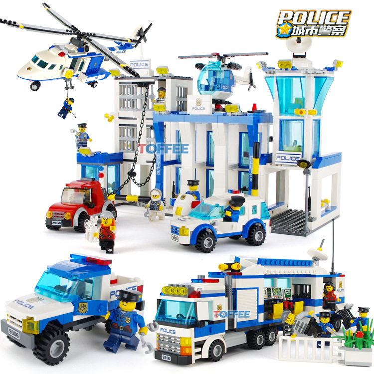 Compatible Legoinglys City Police Series Vehicle Car Helicopter Police Staction Building Blocks DIY Bricks Toys For Children