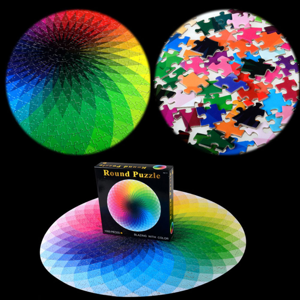 1000 Pieces Round Rainbow Puzzle Gradient Color Creative Puzzle Wooden Jigsaw Puzzle Adult Kids DIY Educational Toy Gift