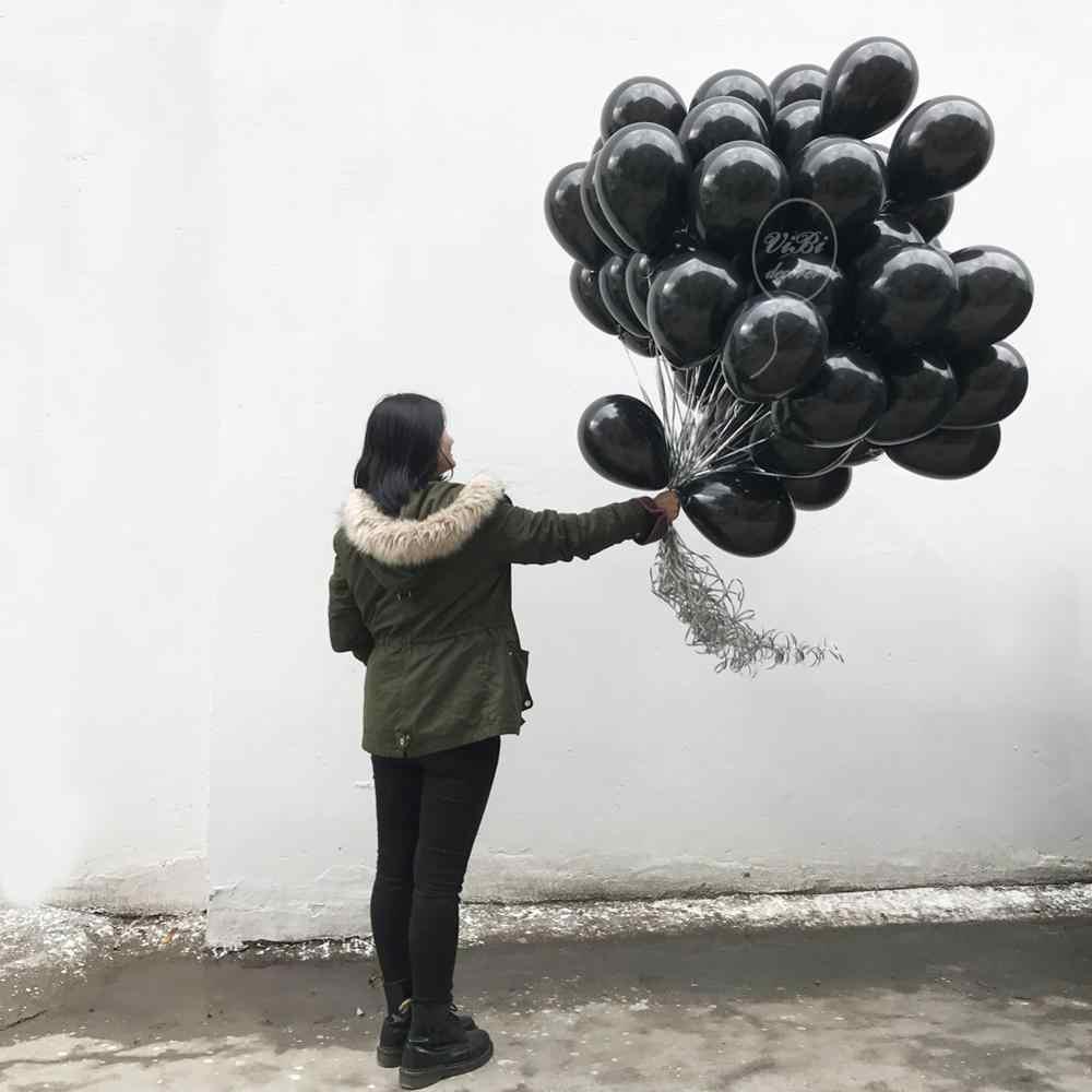 Vibidecorer بالون أسود قياسي 5/10/18/36 في استحمام الطفل الذكرى اقتراح حفلة عيد ميلاد الزفاف بالون مملوء بالهليوم