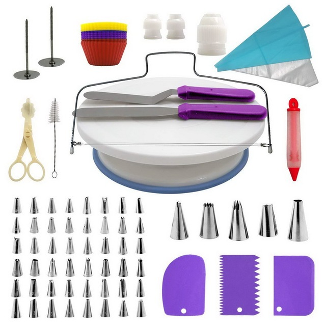 106pcs Multi function Cake Decorating Set Cake Turntable Kit Pastry Tube Fondant DIY Tools Cakes Kitchen Dessert Tools Supplies