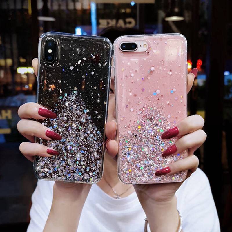 Glitter Phone Case for samsung galaxy NOTE 8 9 10 A50 A10 A20 A30 S8 S9 S10 A21 A01S20 A51 A71 A81 A91 A6 PLUS Pro Back cover