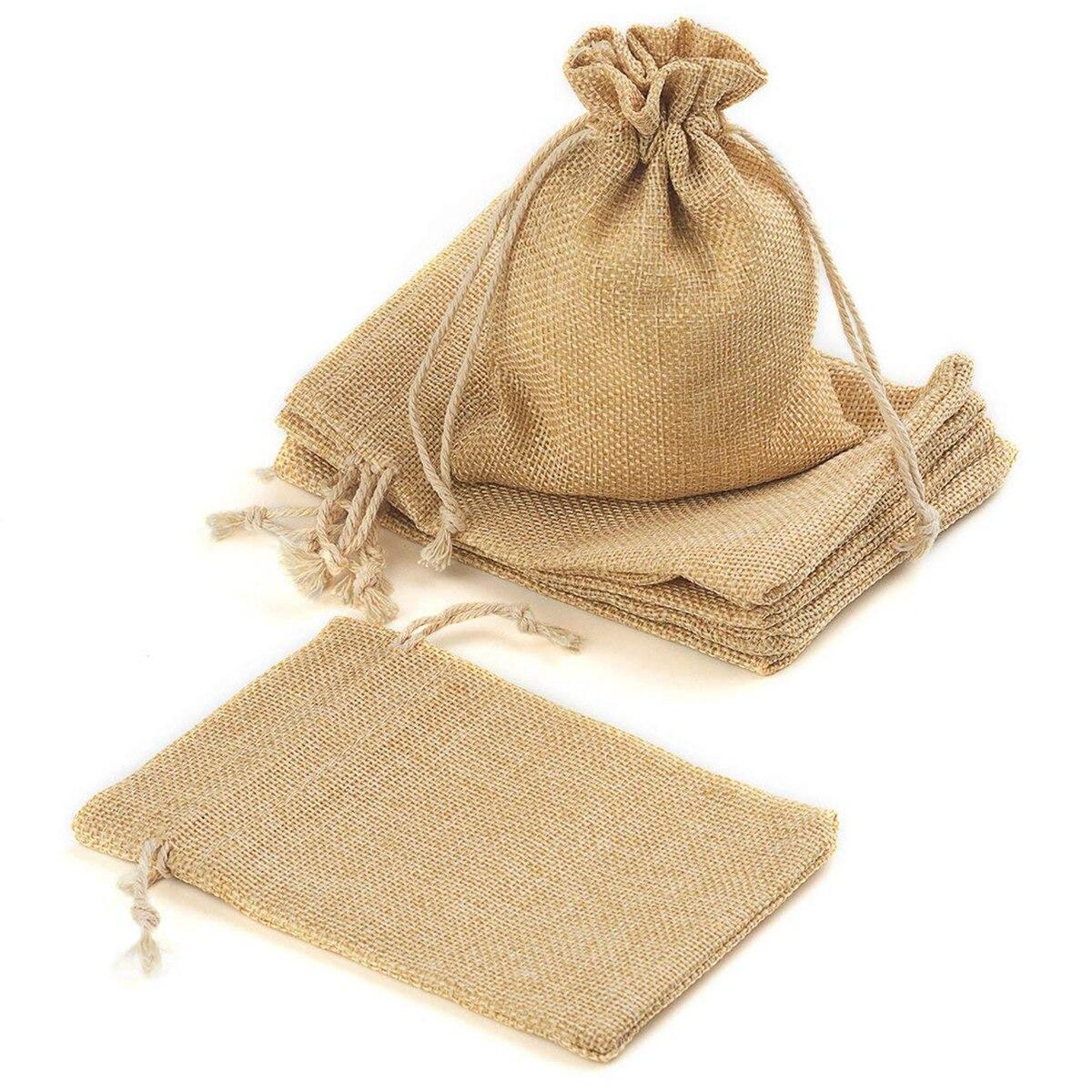 100 sacs de toile de jute de pièce avec des sacs-cadeaux de cordon pour la fête de mariage, projets d'art et d'artisanat, cadeaux, casse-croûte et bijoux, - 2