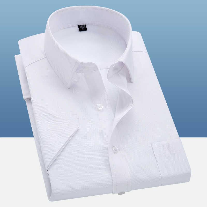 능 직물 순수한 색상 9XL 8XL 7XL 6XL 대형 남성 셔츠 짧은 소매 슬림 맞는 공식적인 남성의 흰색 셔츠 비즈니스 남성 사회 셔츠