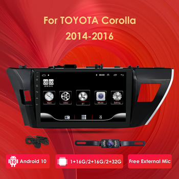 2 Din android 10 2GB RAM 32GB ROM Car Radio Multimedia Player For Toyota Corolla 2013 2014 2015 support BT WIFI&4G SWC Quad Core image
