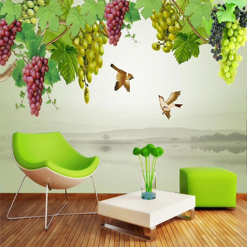 3D Wallpaper Chinese Style Grape Fruit Flower Birds Photo Wall Mural Living Room Dining Room Background Wall Decor Wall Painting