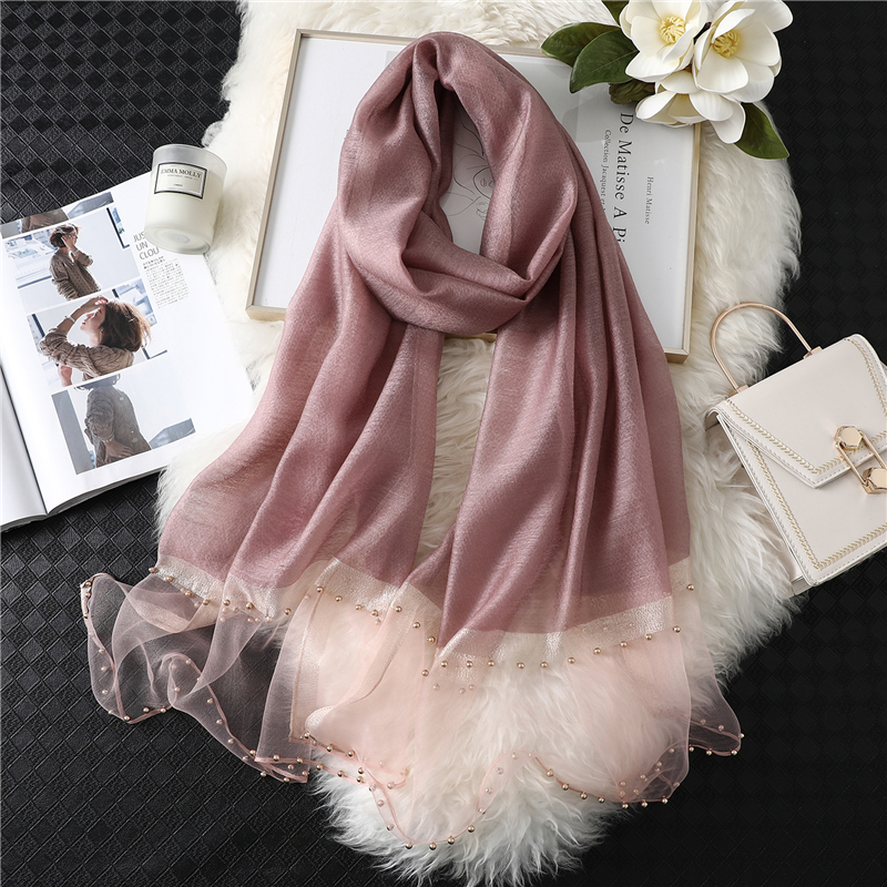 2019 Summer Women Silk Scarf Fashion Long Size Shawls Lady Wraps Designer Pashmina Beach Stoles Pearl Foulard Female Organza