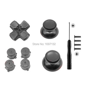 Image 4 - PS4 Thumb Grip Metal Thumb Grips Aluminum Replacement ABXY Bullet Buttons Thumbsticks Chrome D pad for Sony Playstation 4